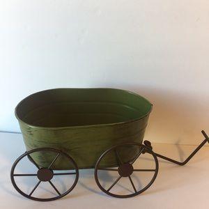 Green Metal Wagon Decor